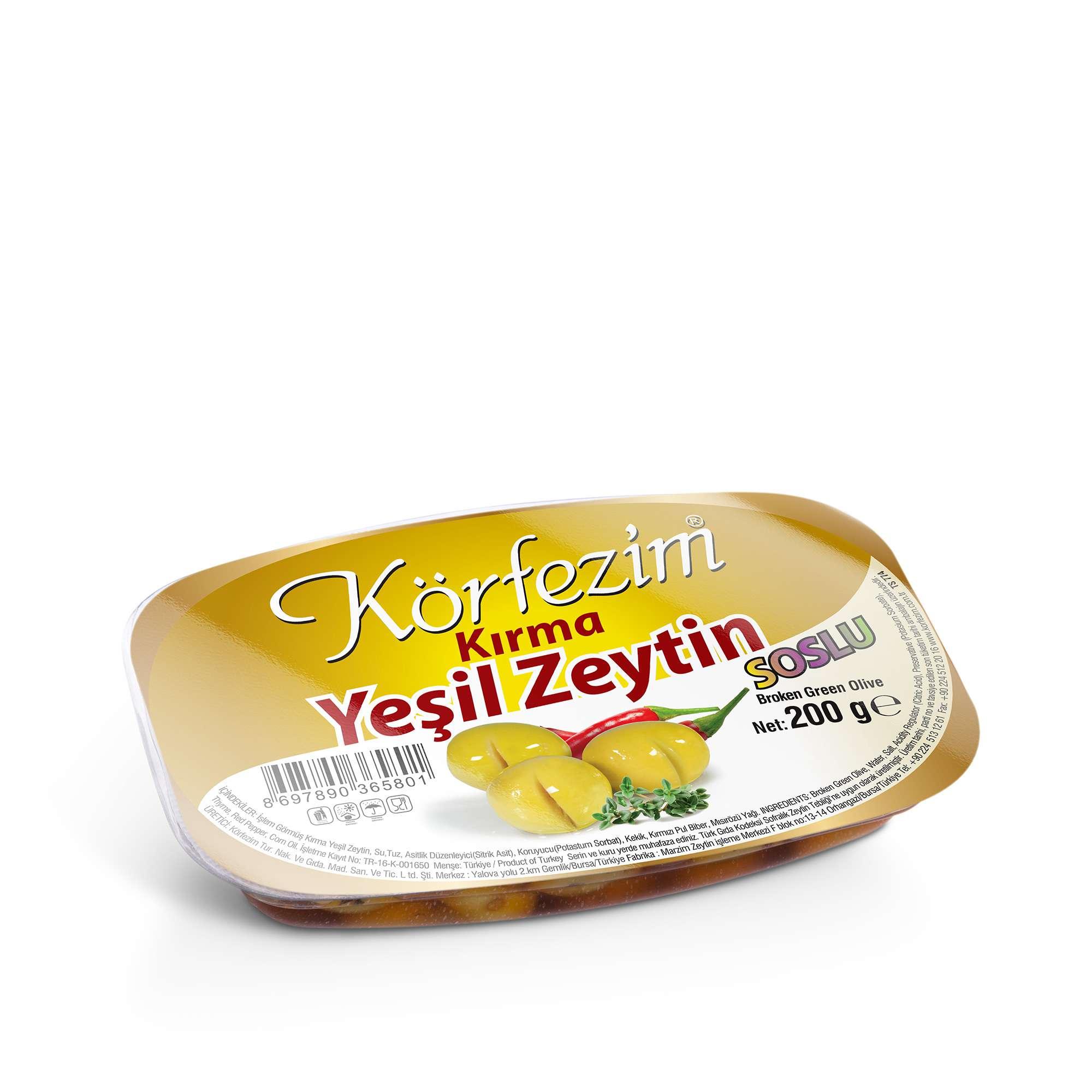 Körfezim Kırma Soslu Yeşil Zeytin - 200 gr (Vakum Paket)