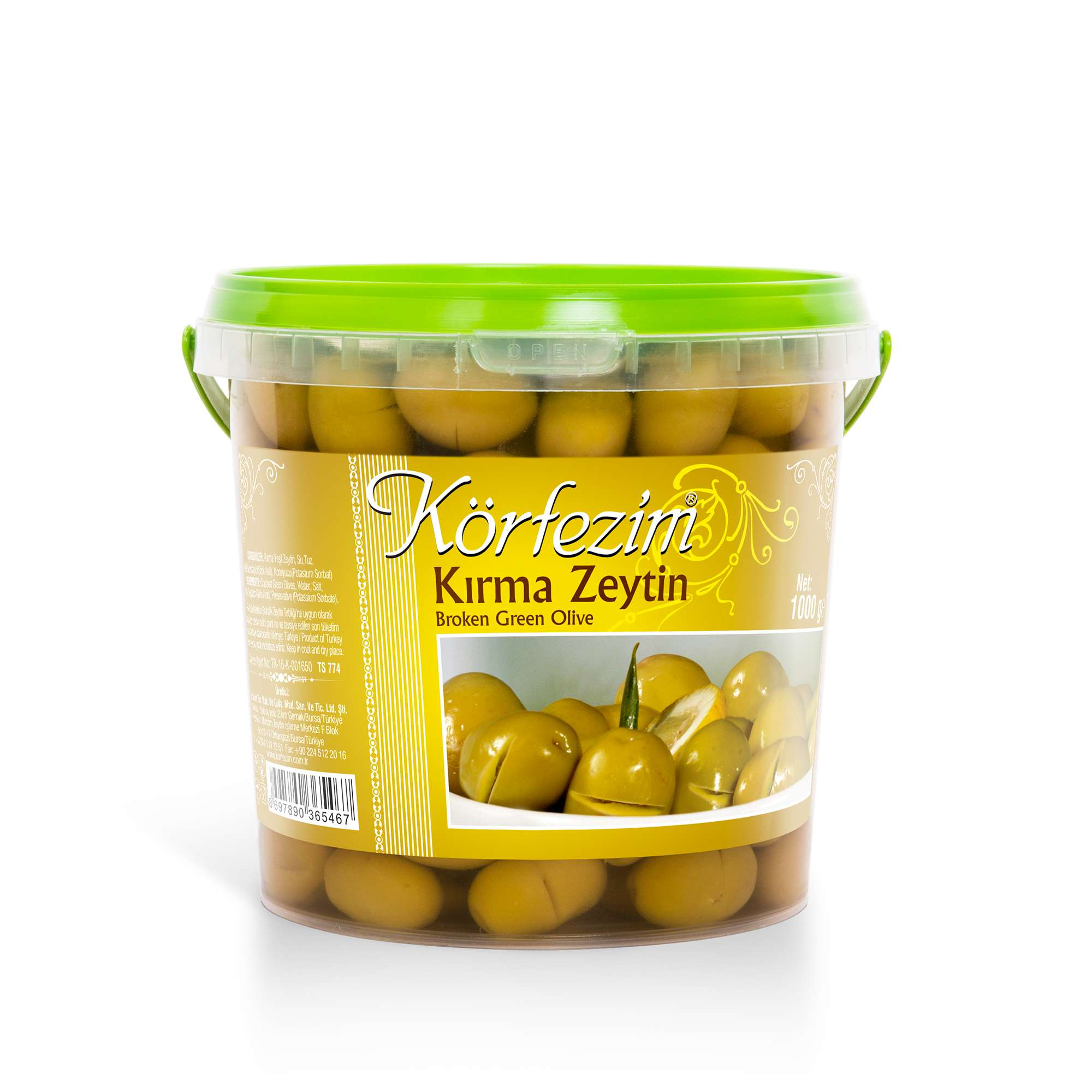 Körfezim Kırma Yeşil Zeytin - 1 kg (Pet Kova)