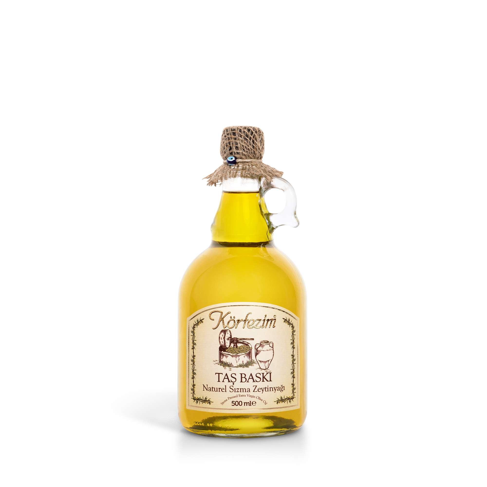 Körfezim Taş Baskı Soğuk Sıkım Zeytinyağı - 500 ml. (Kulplu Galon Cam Şişe)