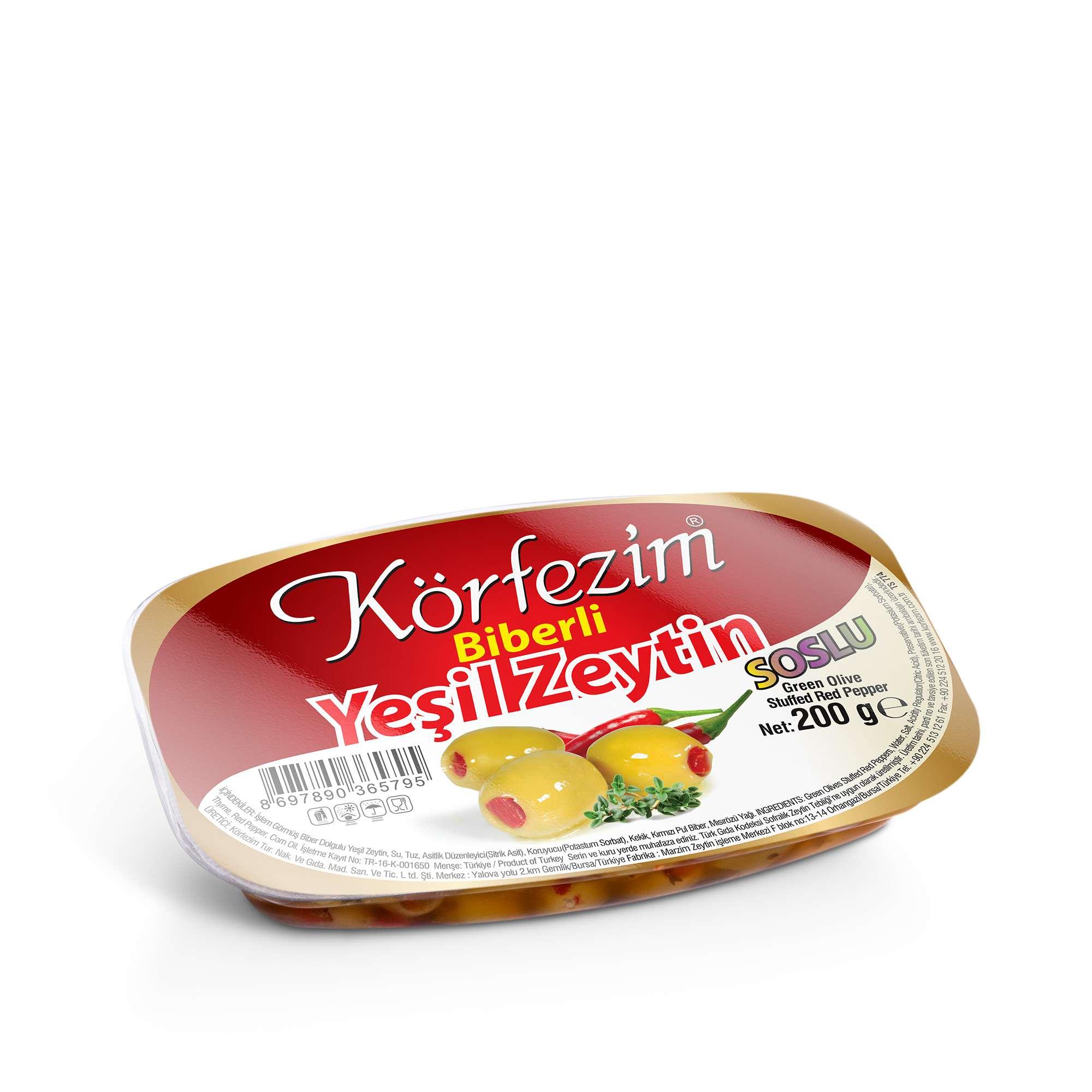 Körfezim Biber Dolgulu Soslu Yeşil Zeytin - 200 gr (Vakum Paket)